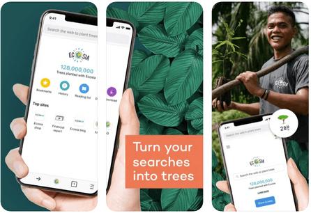 En six ans, Ecosia a planté plus de 130 millions d'arbres… à partir des recherches sur internet. Un business model qui pourrait donner des idées aux géants du secteur. (Photo: screenshots de l'application Ecosia)