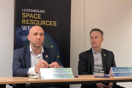 James Carpenter, stratège de l'ESA pour les ressources de l'espace, et Matthias Maurer, astronaute allemand, sont venus expliquer l'intérêt de s'intéresser à l'exploitation des ressources de l'espace. (Photo: Paperjam)