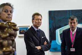 Jo Kox (Ministère de la Culture), S.A.R. le Grand-Duc Henri et Alex Reding (Directeur de Luxembourg Art Week) ((Photo: Mike Zenari))