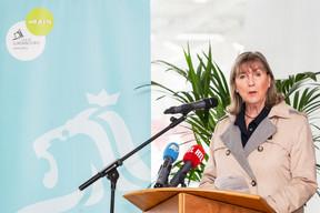 La bourgmestre de la capitale, Lydie Polfer (DP),lors de la conférence de presse sur l'avancement des travaux du nouveau stade national de football et de rugby. ((Photo: Caroline Martin))