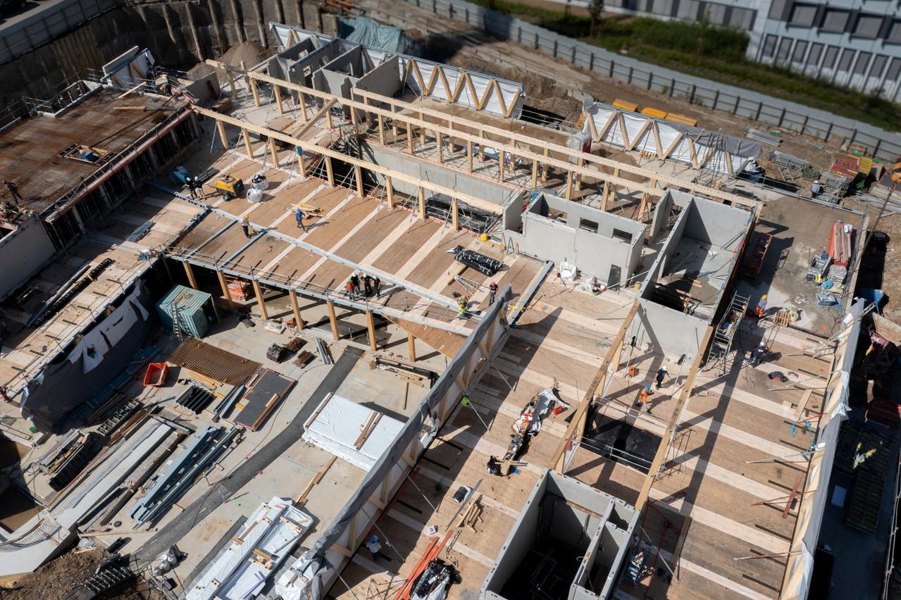 Wooden, qui sera le futur siège de Bâloise Assurances Luxembourg, est construit principalement en bois. (Photo: Wili)