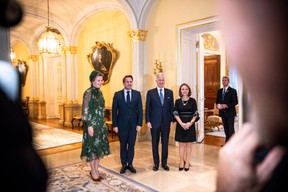 S.M. la Reine des Belges, Xavier Bettel (Premier ministre), S.M. le Roi des Belges et Corinne Cahen (Ministre de la Famille) ((Photo: Anthony Dehez))