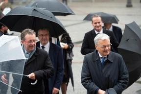 Rudi Vervoort (ministre-président du gouvernement de la Région de Bruxelles-Capitale) et Didier Reynders (vice-Premier ministre de Belgique) ((Photo: Anthony Dehez))
