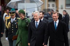 S.M. la Reine des Belges, S.M. le Roi des Belges et S.A.R. le Grand-Duc ((Photo: Anthony Dehez))