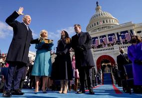 Joe Biden, visiblement ému lors de sa prestation de serment au Capitole mercredi 20 janvier. (Photo: Twitter)
