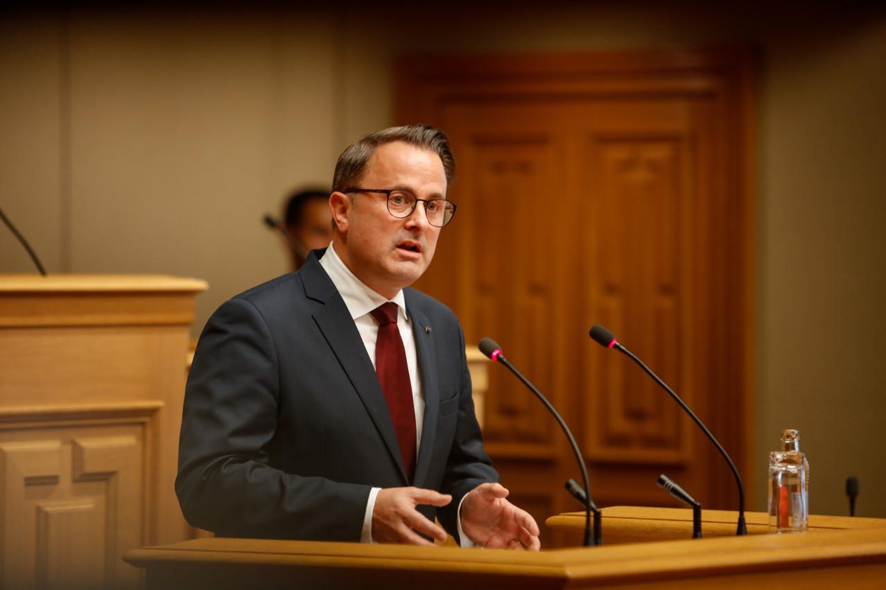 Le Premier ministre XavierBettel a retrouvé la salle plénière de la Chambre des députés, ce mardi 12 octobre, à l'occasion du discours sur l'état de la Nation. (Photo: Romain Gamba/Maison Moderne)