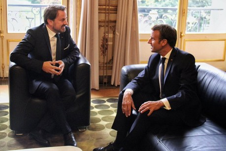 «Le Luxembourg et la France partagent un grand nombre de priorités européennes. La protection de notre planète, le futur budget de l'Union européenne et le marché unique numérique étaient quelques-uns des sujets abordés», a tweeté Xavier Bettel à la sortie de sa rencontre avec Emmanuel Macron. (Photo: Twitter/@Xavier_Bettel)