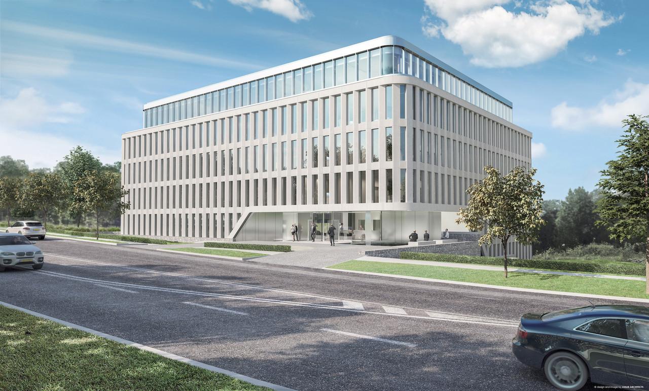 C'est le long de la route d'Esch, à Luxembourg, que l'immeuble Prism sera construit. (Illustration : Eaglestone-Assar Architects)