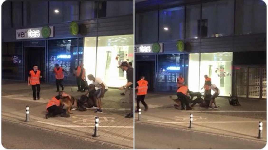 Screen shots from a video circulating on social media appear to show the security firm's dog attacking a man Detail of Marc Goergen tweet