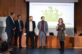 Gilles Scholtus (ministère de l'Économie), Christophe Wagner (BGL BNP Paribas), Paul Schaack (Mutualité des PME) et Sandie Lahure ((Photo: Matic Zorman/Maison Moderne))