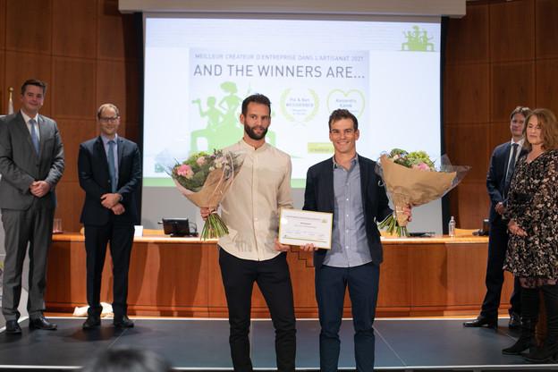 Les lauréats, les frères Pol et Ben Weisgerber, qui ont repris en 2017 l'entreprise familiale de construction en aluminium qui porte leur nom. (Photo: Matic Zorman/Maison Moderne)