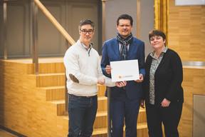 Julien Delpy (Maison Moderne), Adel Nabhan (Banque Degroof Petercam Luxembourg) et Martine Goerge (Solvay) ((Photo: Arthur Ranzy))