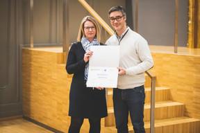 Sylvie Remont (Banque de Luxembourg) et Julien Delpy (Maison Moderne) ((Photo: Arthur Ranzy))