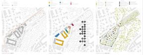 Schémas sur la mobilité, fonctions et espaces verts ((Illustration: Metaform Architects/CityTools/Agence Babylone))