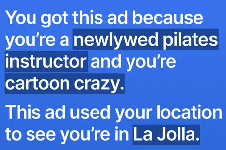 Une des publicités que Signal avait imaginées pour expliquer ce que Facebook collecte comme données. (Photo: Signal)