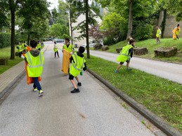 Pupils are pictured heading out to collect litter in Limpertsberg. In all they collected 59.55k of trash Lycée Michel Lucius
