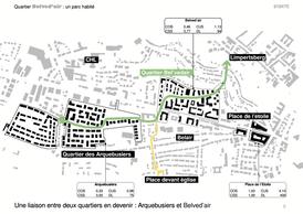 Le projet propose de retrouver la topographie originale du site. ((Illustration: Fabeck Architectes))