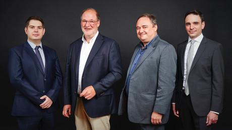 Valentin Plugaru, Roger Lampach, Pascal Bouvry et Matthieu Lefebvre: le quatuor qui va diriger la filiale de Luxconnect en charge du HPC luxembourgeois. (Photo:  Lux p rovide )