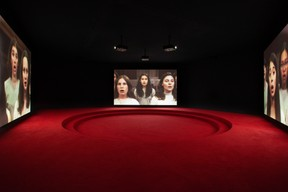 Angelica Mesiti, Assembly, 2019 (production still) three-channel video installation in architectural amphitheater. HD video projections, colour, six-channel mono sound, 25min, dimensions variable. ((Photo: Josh Raymon))