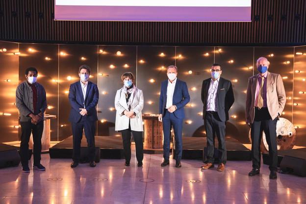 Le débat animé par Michel-Edouard Ruben (Fondation Idea) et Nicolas Léonard (Paperjam) a réuni Michèle Detaille (Fedil), Gilles Roth (CSV), Nicolas Henckes (CLC) et Alain Steichen (Bonn Steichen & Partners). (Photo: Simon Verjus)