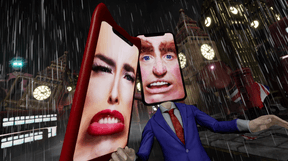 Les personnages de«I'm terribly sorry» ont un smartphone en guise de tête. ((Photo: Rachel Maclean))