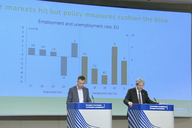 Le Covid-19 aura d'importantes conséquences sur le marché de l'emploi, résumait, mercredi matin, PaoloGentiloni, commissaire européen à l'Économie (à droite). (Photo: Capture d'écran / Commission européenne)