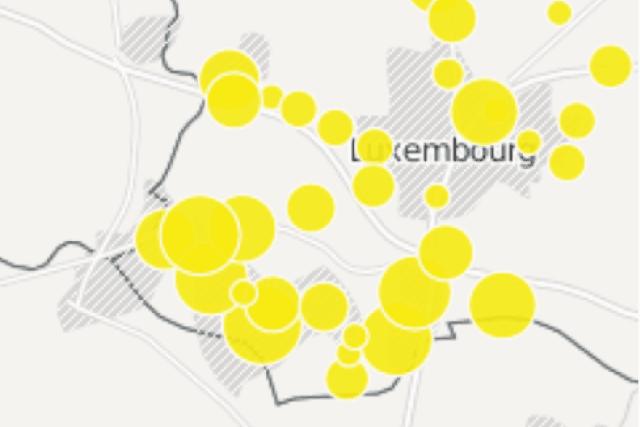 Déplacez votre souris sur la carte pour afficher les informations sur les principaux P+R implantés au Luxembourg en 2015