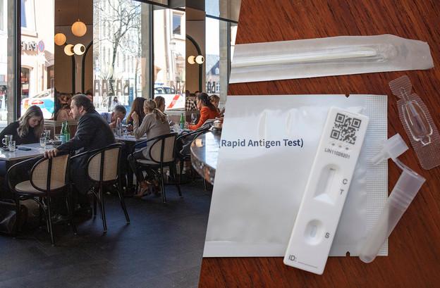 Les restaurants devraient se faire livrer en autotests entre le 10 et le 12 mai, de 9h à 17h. (Photomontage: Maison Moderne. Photos: Jan Hanrion/Maison Moderne/archives; Shutterstock)
