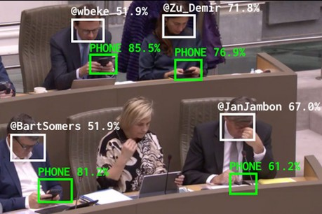 L'intelligence artificielle reconnaît les smartphones et écrans et calcule le temps passé par le député sur son appareil. (Photo: The Flemish Scrollers)