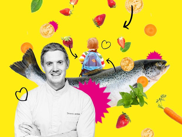 Des légumes du jardin, des fruits, mais aussi de la truite fumée: quel est le panier-repas idéal pour les écoliers du chef Thomas Murer? (Design: Eva Pontini/Maison Moderne)