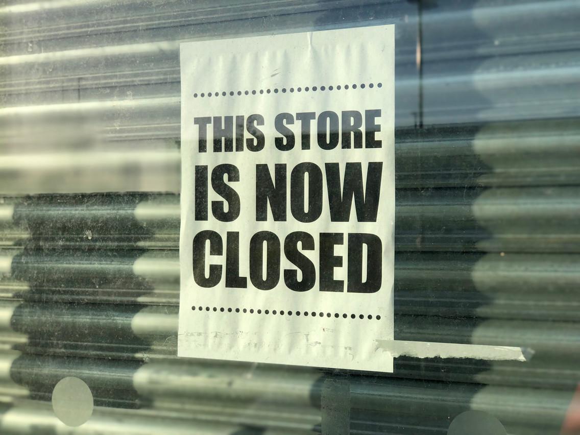 «Ce magasin est fermé»: les faillites devraient bientôt retrouver leurs niveaux d'avant-crise, sans grande augmentation liée à la crise, prédit Euler Hermes. (Photo: Shutterstock)