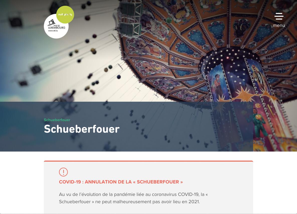 L'annulation de la Schueberfouer 2021 officialisée par la Ville de Luxembourg. (Capture d'écran/vdl.lu)