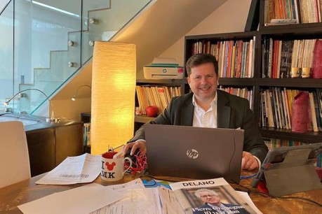 Thibault de Barsy bien installé en «home office». (Photo: Thibault de Barsy)