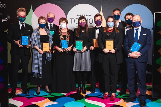 Les 10 premiers du classement du Paperjam Top 100 ont été mis à l'honneur lors d'une grande soirée de gala mercredi soir. (Photo: Julian Pierrot/Maison Moderne Publishing SA)