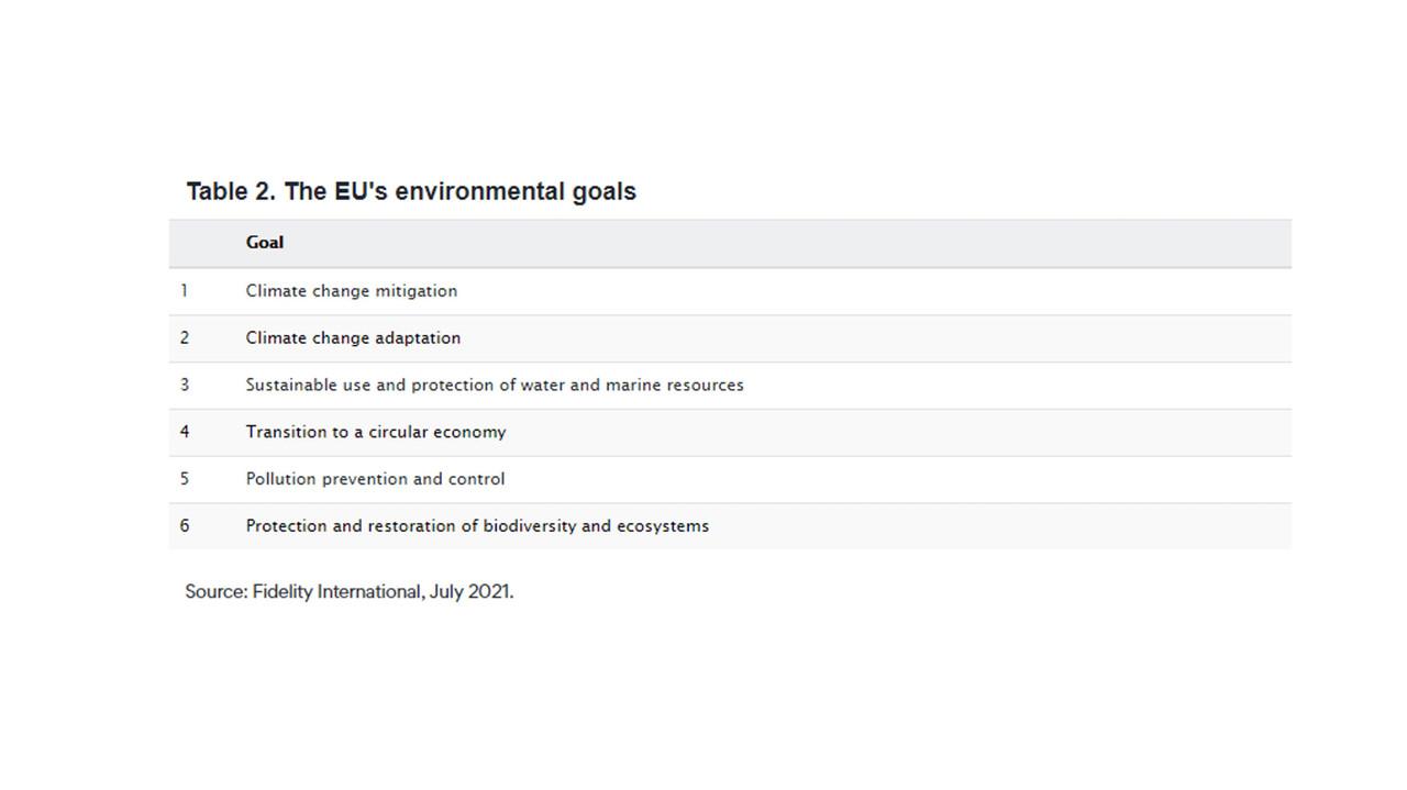 Table 2. The EU's environmental goals. (Credit: Fidelity International)