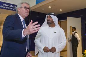 (de g. à dr.) Pierre Gramegna, ministre des Finances; cheikh Ahmed Bin Saeed Al Maktoum, président-directeur général d'Emirates Airline & Group et président du Comité supérieur de l'Expo 2020. ((Photo: © SIP / Jean-Christophe Verhaegen, tous droits réservés))