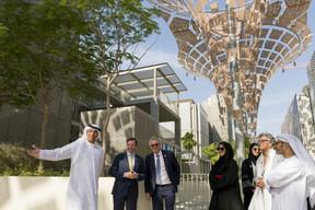 (de g. à dr.) Ahmed Al Khatib, chief development and delivery officer, Expo 2020 Dubaï; S.A.R. le Grand-Duc héritier; Pierre Gramegna, ministre des Finances; n.c.; n.c.; Maggy Nagel, commissaire générale du Luxembourg auprès de l'Expo 2020 Dubaï; Mohamed Issa Abushahab, ambassadeur des Émirats arabes unis à Bruxelles et à Luxembourg. ((Photo: © SIP / Jean-Christophe Verhaegen, tous droits réservés))