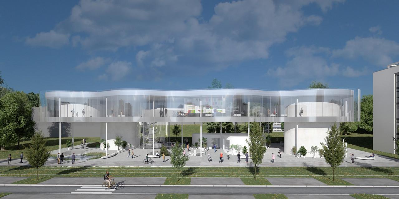 Vue de la façade principale de TheCloud – Inspired by AndréLosch. (Illustration: SANAA)