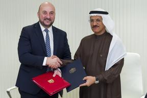 Étienne Schneider et Sultan Bin Saeed Al Mansoori, ministre de l'Économie des Émirats arabes unis. ((Photo: SIP / Jean-Christophe Verhaegen))