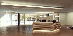 Vue de la zone d'accueil. ((Illustration: Architecture & Urbanisme 21))