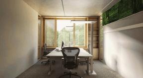 Vue d'un bureau pour deux + une personnes. ((Illustration: Architecture & Urbanisme 21))