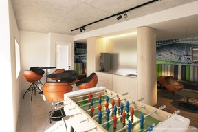 Vue de l'espace «lounge» sport. ((Illustration: Architecture & Urbanisme 21))