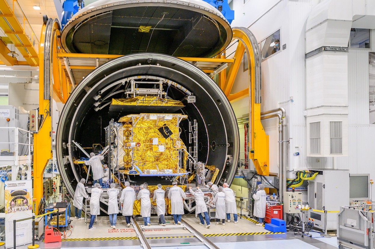 As shown here in the thermal vacuum chamber, testing is wrapping up for SES-17, which will be shipped to Kourou, French Guiana, next week for a launch on the night of 22-23 October and entry into service in June 2022. (Photo: Thales Alenia Space)