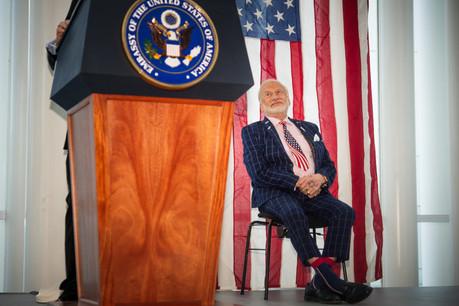 Buzz Aldrin a appelé les hommes politiques américains, présents dans la Philharmonie, à lever les barrières qui s'opposent à une nouvelle conquête de l'espace. (Photo: Nader Ghavami)