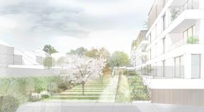 Les abords des immeubles seront végétalisés et piétonniers. ((Illustration:A/2618))