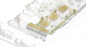 Les trois nouvelles résidences seront construites à l'arrière du bâtiment historique. ((Illustration:A/2618))