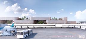 LeSkypark Business Center South se situe dans la continuité de l'aérogare au Findel. ((Illustration: BIG-Metaform))