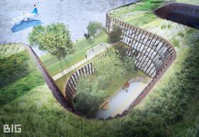 Les toitures plates seront végétalisées et traitées comme la 5e façade. ((Illustration: BIG-Metaform))