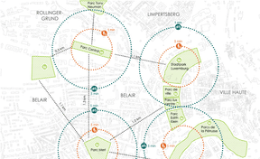 Inscription du Parc central dans le réseau d'espaces verts existants. ((Illustration: Architecture + Aménagement))