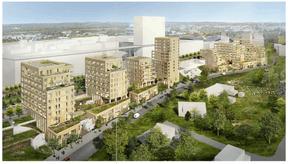 Vue du projet le long de l'avenue Kennedy au Kirchberg. ((Illustration: STEINMETZDEMEYER Architectes Urbanistes))